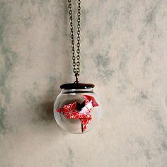 Collier bulle cocotte d'origami rouge et blanche