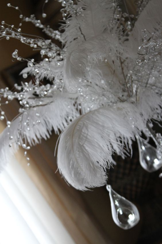 Feather and Crystal Centerpiece Detail    www.magicbeyondmidnight.com    www.facebook.com/magicbeyondmidnight