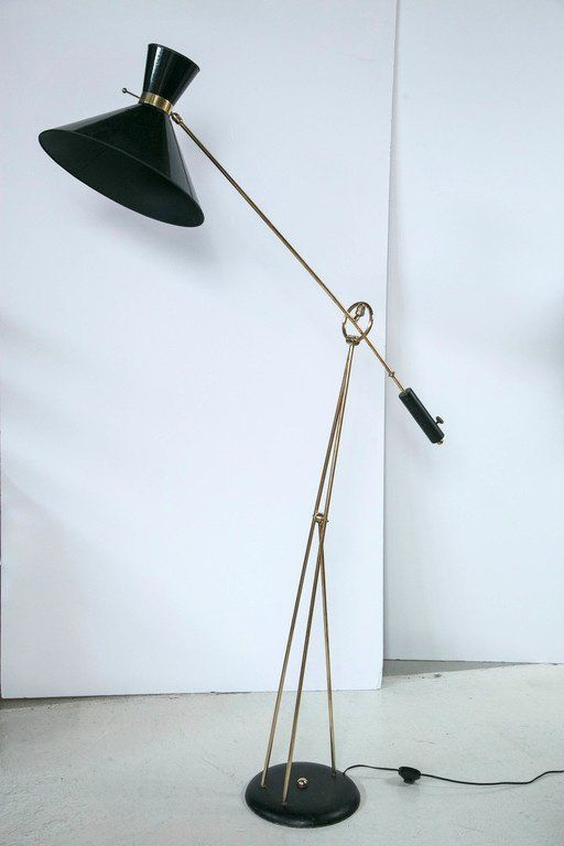 French Mid Century Black Painted Counter Balance Floor Lamp Brass Accents And Black Paper Lamp Shade Done In The Manner Of French Floor Lamp Lamp Floor Lamp