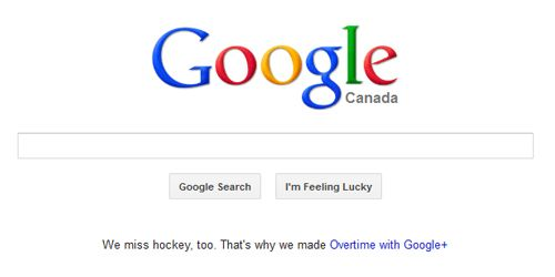 In Canada, even Google cares about hockey...Why don't I live here??