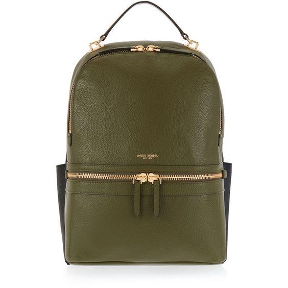 Henri Bendel Soho Backpack (£300) ❤ liked on Polyvore featuring bags, backpacks, bolsas, dk green, padded backpack, padded laptop bag, brown laptop bag, brown backpack and ipad backpack