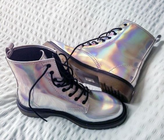T.U.K. Iridescent 7 Eye Boot - $69.30 USD - http://ninjacosmico.com/12-holographic-fashion-items/2/