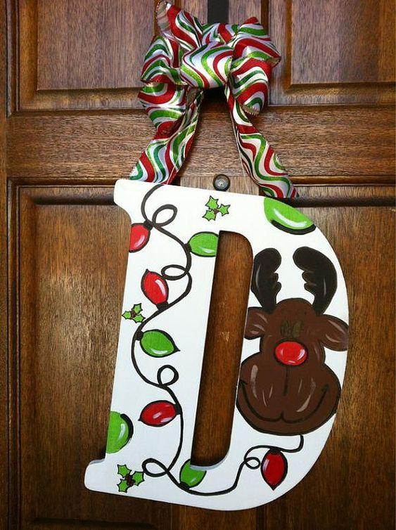 christmas wooden door hanger monogrammed reindeer by mandldesign   35 00