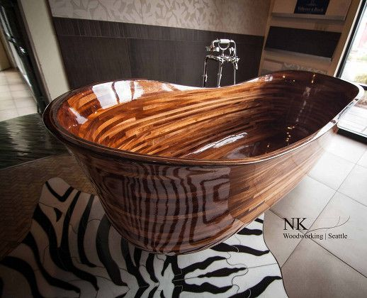 These stunningly beautiful and luxurious bathtubs are a work of art, handcrafted from sustainable domestic and exotic hardwoods.