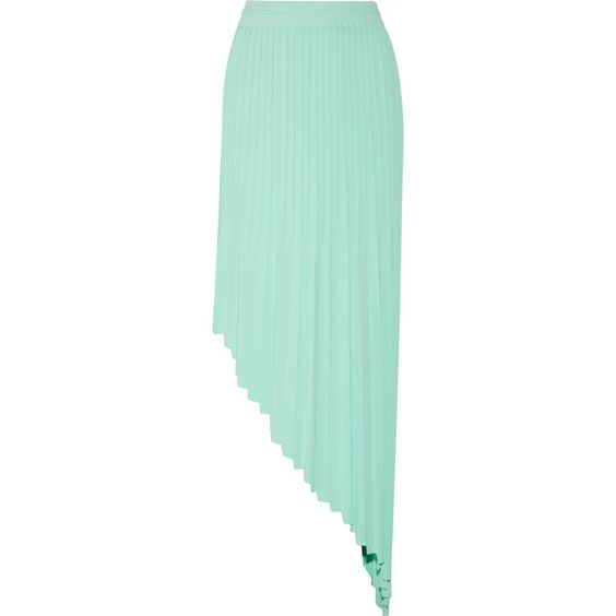 Vionnet - Asymmetric Pleated Stretch-knit Skirt ($438) ❤ liked on Polyvore featuring skirts, mint, mint green pleated skirt, asymmetrical hem skirt, asymmetrical skirt, pull on skirts and green skirt