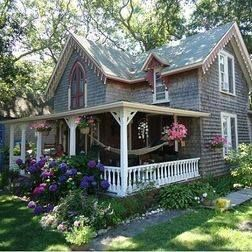 Carpenter Gothic shingled cottage