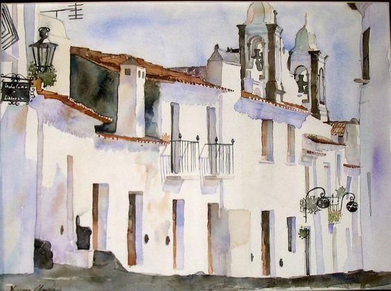 Reguengos de Monsaraz, Portugal Watercolour on paper by Vanessa d'Azevedo www.vanessazevedoart.com