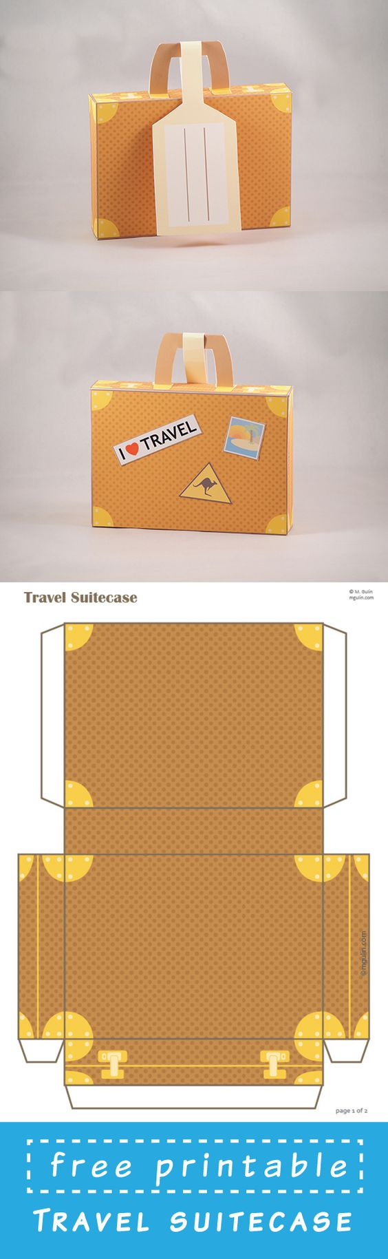 Free Printable Suitcase template. Just dowload and assemble.: