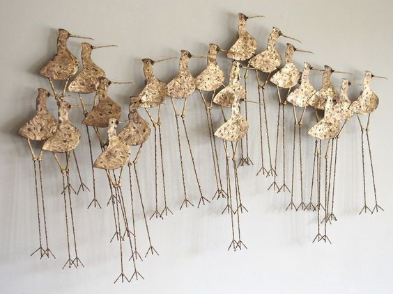 Large C. Jere Birds Brass Metal Wall Sculpture Signed 1970