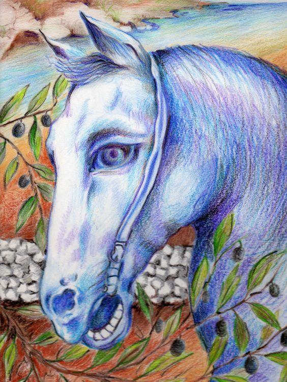Il disegno di Eleonora (provincia di Lecce) che ha vinto il Traguardo d'Autunno. Titolo: Il cavallo tra estate e autunno. Per partecipare www.disegnailtuocavallo.it. Grazie.