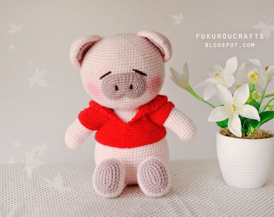 Cute Amigurumi Pigs : fukuroucrafts: Cute Crochet Pattern Pig Doll, Cute ...