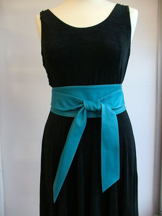 Turquoise leather obi belts handmade in Spain by Poltsa on Etsy, £42.95