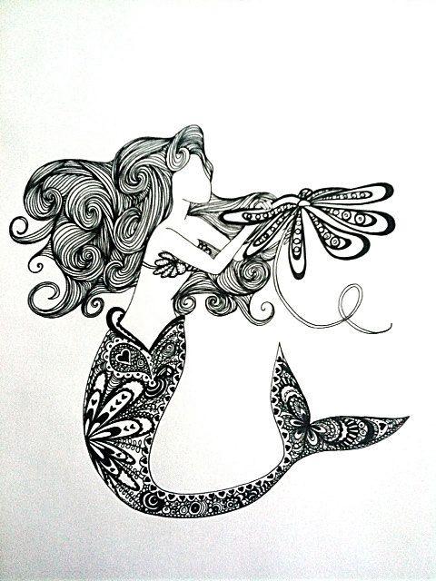 : Sharpie Drawing, How To Draw Mermaid, Mermaid Drawing, Mermaid Tattoos, Little Mermaid Tattoo