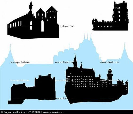 Siluetas de cuatro castillos y fortalezas silueta.