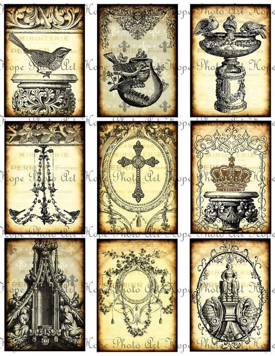 French Ornamental Tags 2x3.5 Digital Collage Sheet - birds chandelier cross crowns aged stained ATC ACEO: