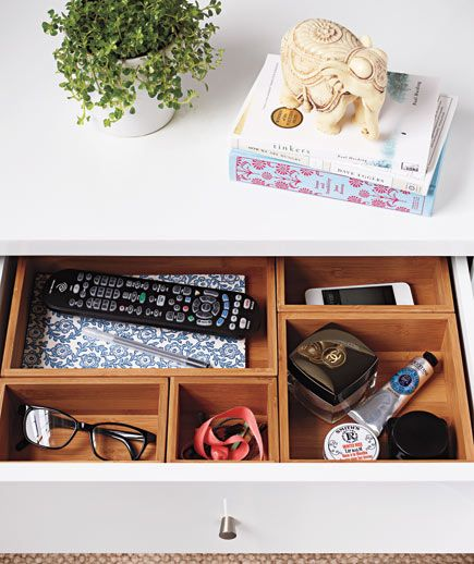 Use drawer organizers in your nightstand to ensure that everything has a place and stays in it!