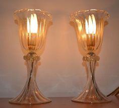 Online veilinghuis Catawiki: Ferro (Anfora) - Lampade da comodino in cristallo e foglia d'oro di Murano