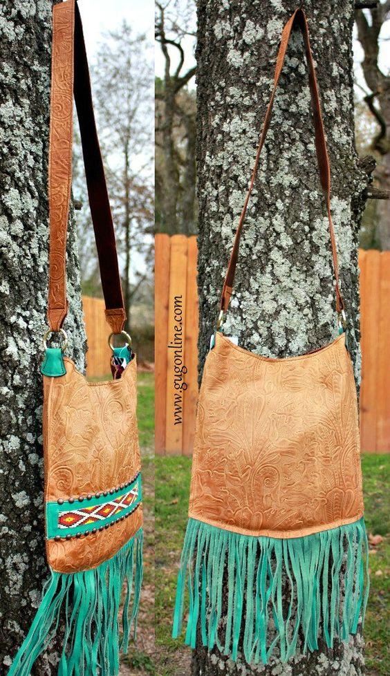 Kurtmen Designs Cross Body Tan Tooled Ivory And Turquoise