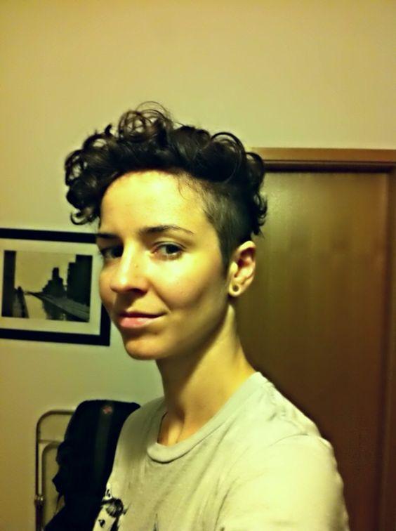 curly short hair undercut women dyke butch tomboy haircut tagr