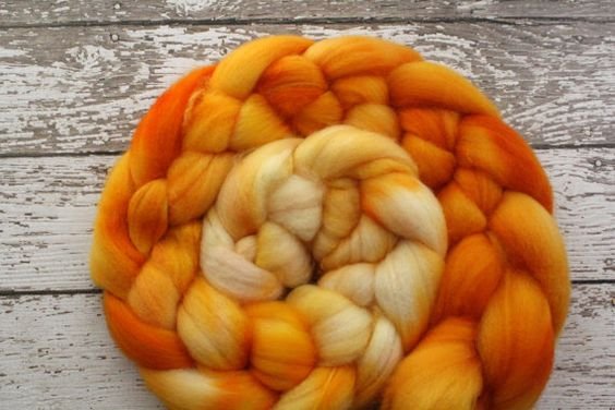 Superwash Wool Roving, Orange Burst, 4 oz