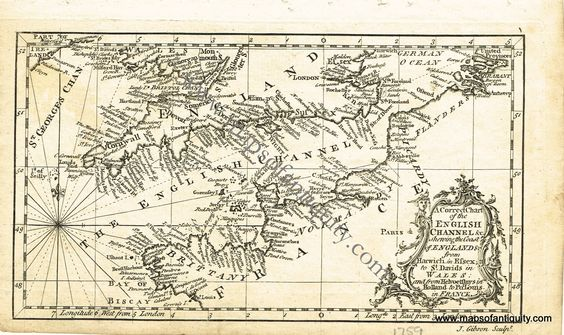 A Correct Chart of the English Channel &c. shewing the Coast of England & from Harwich in Essex to St Davids in Wales: and from Helvoetsluys in Holland to Port Louis in France. - Antique Maps and Charts – Original, Vintage, Rare Historical Antique Maps, Charts, Prints, Reproductions of Maps and Charts of Antiquity