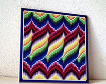 Bargello quilt style ceramic tile, trivet for quilter, blue, green, red, gold yellow, all occasion gift,wall decoration, decorated wall tile