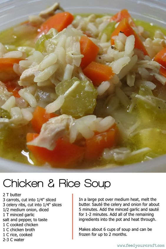chicken and rice soup recipe- now that it's getting colder, I'm gonna be eating a lot more soup: