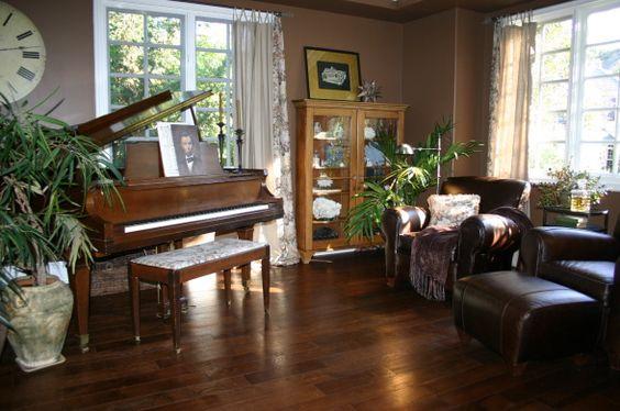 Dark Brown Cozy Living Room Library