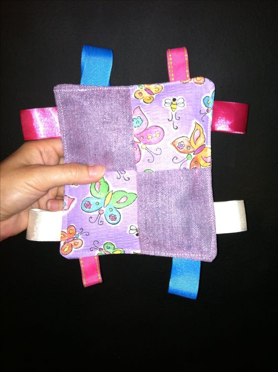 DIY baby crinkle/jingle tag toy! Sew together fabric & ribbon scraps ...