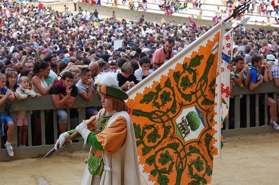 Corteo storico dell'Assunta 2008. Comparsa della Contrada della Selva: il Paggio Maggiore. Foto tratta dal sito http://palio.be/
