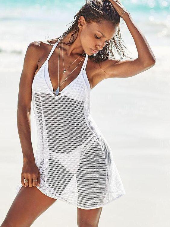 white mesh coverup