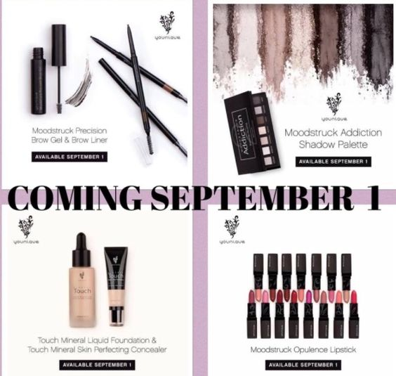 Eek!!new goodies from younique!lipstick collection, shadow palletes, concealer, brow gel and liners and still all natural! Coming soon beginning September 1st 2015!! love it or return it guaranteestart shopping here--> https://www.youniqueproducts.com/DebPoshanistaTorres