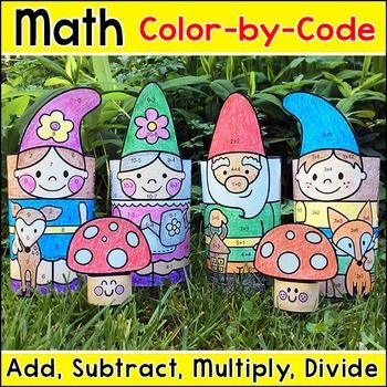 Spring Math: Practice number matching, adding, subtracting, multiplying or dividing with these fun Spring Garden Gnomes color by code pictures that turn into a 3D paper toys! This activity is perfect for math centers, morning work, early finishers, substitutes or homework.This product includes four pictures: Man Gnome, Woman Gnome, Boy Gnome and Girl Gnome.A bonus coloring page of cute mushrooms is also include.: