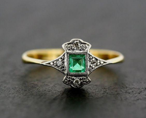 Art Deco Emerald Ring - Antique Art Deco Emerald & Diamond 18ct Gold and Platinum Ring on Etsy, $981.05