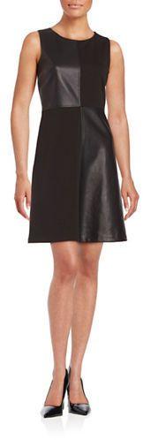 Tommy Hilfiger Faux Leather-Accented A-Line Dress, Leather Dress, schwarz, black, Leder Outfits, Ledermode, Leather, Fashion, Dress