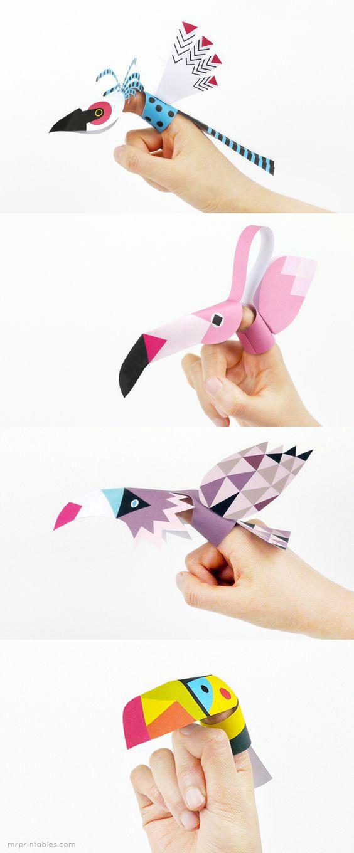 Pássaros fantoches. Para imprimir em: http://pdf.mrprintables.com/mrprintables-bird-finger-puppets.pdf Tutorial em: http://www.mrprintables.com/finger-puppets-birds.html Printable Bird Finger Puppets!