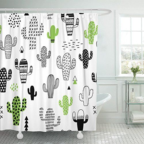 Tompop Hand Drawn Black Desert Cactus Shower Curtain Cactus