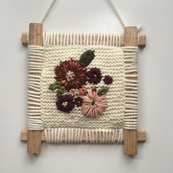 Image of Pink Violet Wildflowers Embroidery