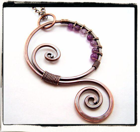 Purple Amethyst Copper Swirl Pendant with Chain by FashionWire