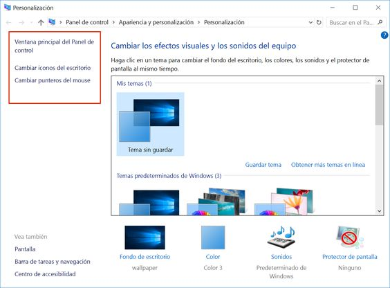 Temas en Windows 10