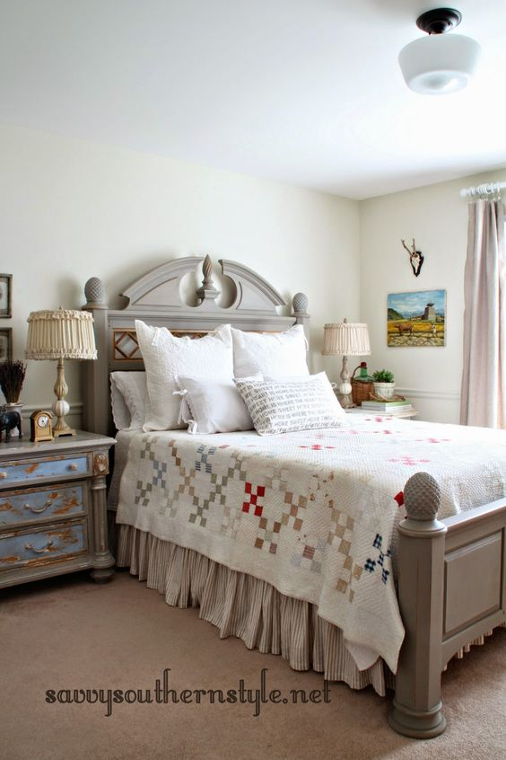 French farmhouse style hand stitched vintage quilt for French farmhouse bed
