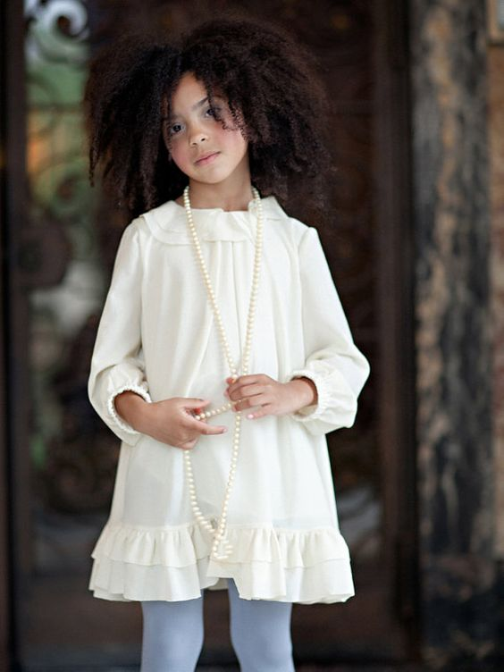 Girls Cream CORINNA Ruffle Dress  Lilla Grey F/W '13 by lillagrey, $148.00