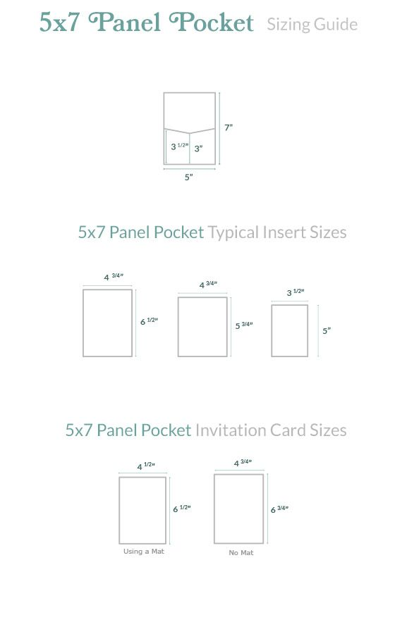 Invitation Size Guide 5x7 Panel Pocket Cards Pockets Standard Wedding Invitation Size Wedding Invitation Size Invitation Sizes