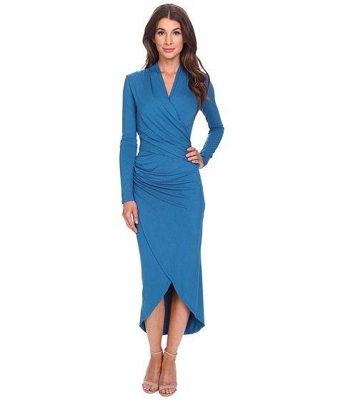 Adrianna Papell Long Sleeve V-Neck Wrap Dress