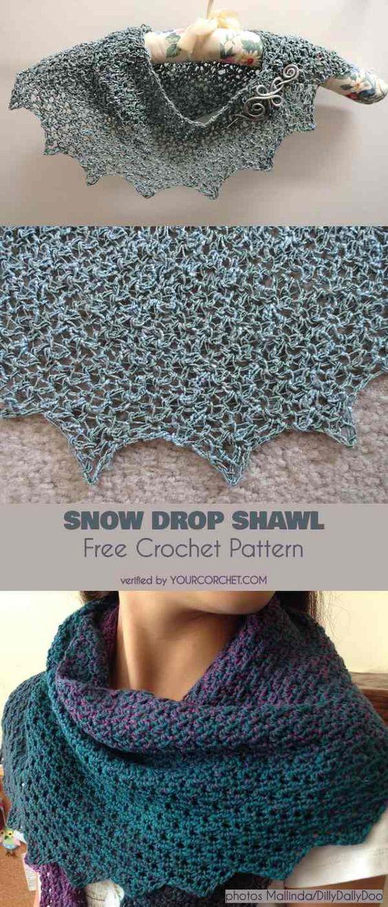 Snow Drop Shawl Free Crochet Pattern