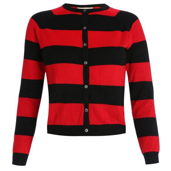 'Menise' Red Black Stripe Cardigan