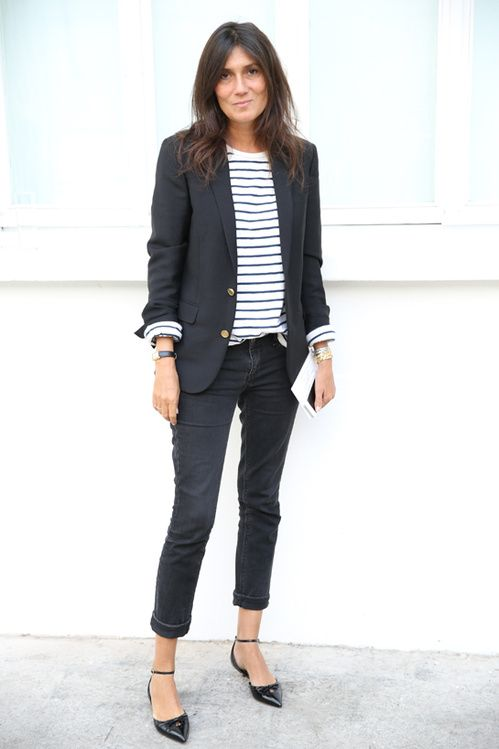 french women style, black pointy toed shoe, stripped shirt