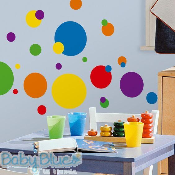 Puntos de colores wall decals un cl sico de la for Elementos decorativos para el hogar