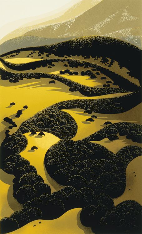 Eyvind Earle, artist from Monterey, CA who worked as a conceptual artist with Disney in the 50s and 60s. His paintings of the hills around Salinas, Monterey, and Big Sur always remind me of time spent up there with people I love.: