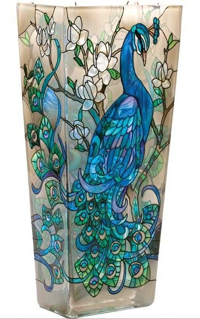 "Joan Baker ""Peacock"" Hand Painted Art Glass Vase / http://www.whimseyhollowgifts.com/testproduct5-1.aspx?MMP=101Q1TACBUN:"